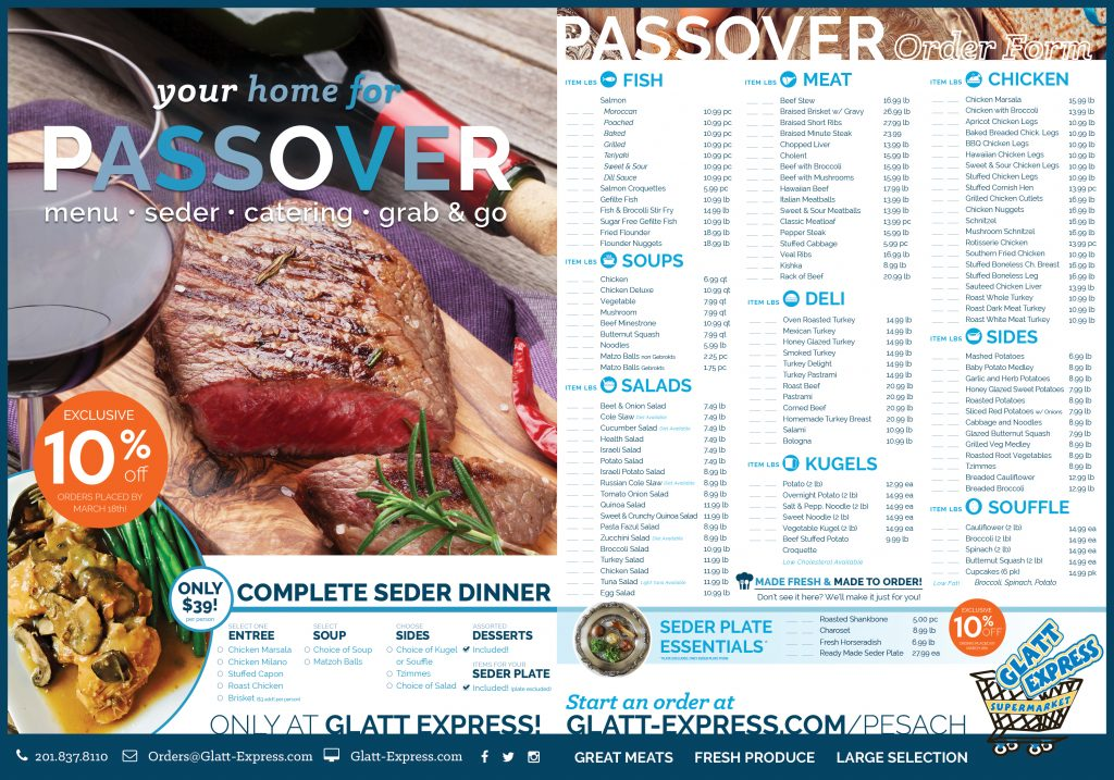 Passover Catering and Pesach Takeout | Glatt Express | Teaneck, NJ